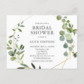 Elegant Geometric Greenery Bridal Shower Invitation Postcard