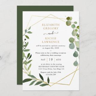 Elegant Geometric Greenery Wedding Reception Invitation