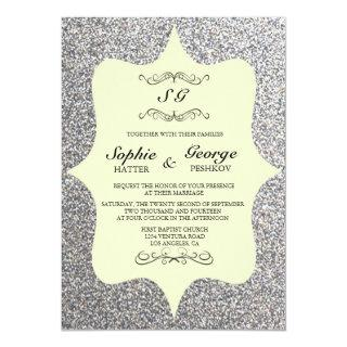 Elegant Glitter Framed Wedding Invitations