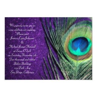 Elegant Glittery Purple Peacock Wedding Invitations