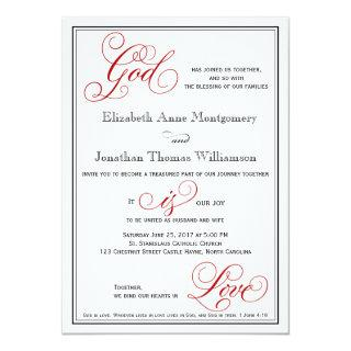 Elegant God is Love Christian Wedding Invitations