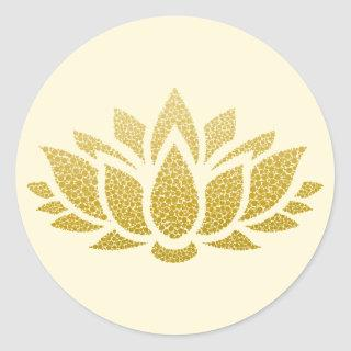 Elegant Gold Abstract Lotus Flower Sticker