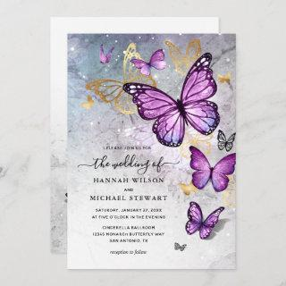 Elegant Gold and Purple Butterfly Wedding Invitation