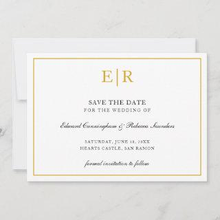 Elegant Gold and White Monogram Formal Wedding Save The Date