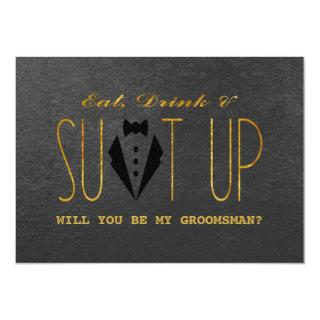 Elegant Gold & Black WILL YOU BE MY GROOMSMAN Invitations