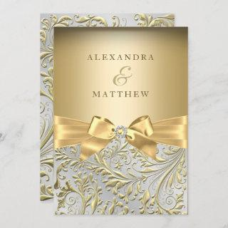 Elegant Gold Bow Golden Leaf Wedding Invitation