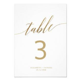 """Elegant Gold Calligraphy 5x7"""" Table Number"""
