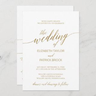 Elegant Gold Calligraphy | Details on Back Wedding Invitation