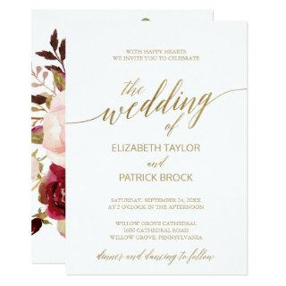 Elegant Gold Calligraphy | Floral Backing Wedding Invitation