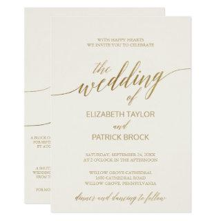 Elegant Gold Calligraphy Ivory All in One Wedding Invitation