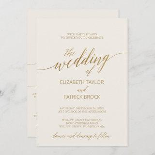 Elegant Gold Calligraphy Ivory All in One Wedding Invitations