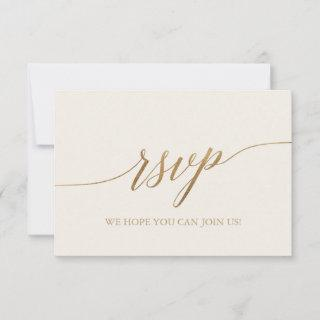 Elegant Gold Calligraphy | Ivory Simple RSVP Card