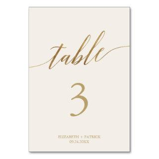 Elegant Gold Calligraphy   Ivory Table Number