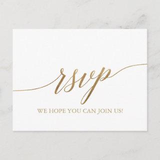 Elegant Gold Calligraphy Song Reques RSVP Postcard