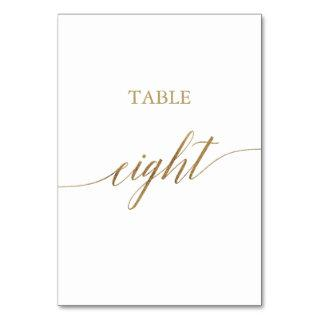 Elegant Gold Calligraphy Table Eight Table Number