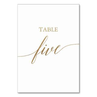 Elegant Gold Calligraphy Table Five Table Number