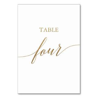 Elegant Gold Calligraphy Table Four Table Number