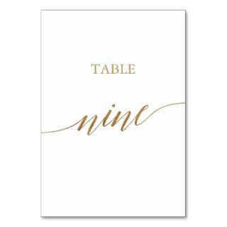Elegant Gold Calligraphy Table Nine Table Number