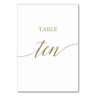 Elegant Gold Calligraphy Table Ten Table Number