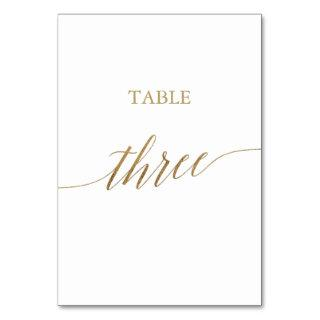 Elegant Gold Calligraphy Table Three Table Number