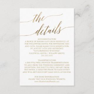 Elegant Gold Calligraphy Wedding Details Card