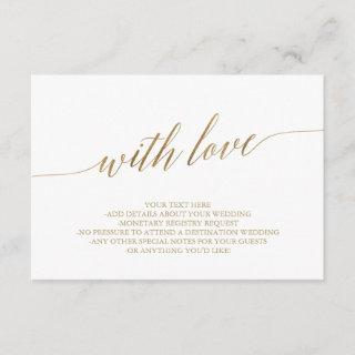 Elegant Gold Calligraphy With Love Details Card