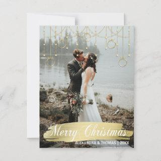 Elegant Gold Christmas First Married Engaged PHOTO Holiday Card