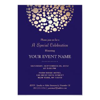 Elegant Gold Circle Sphere Navy Blue Formal Invitation