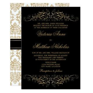 Elegant Gold Color Flourish and Damask Invitations