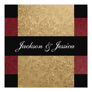 Elegant Gold Dark Red Paisley Engagement Party Invitation