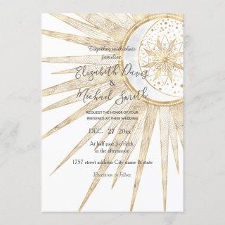 Elegant Gold Doodles Sun Moon Mandala Wedding Invitations