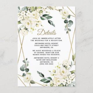 Elegant Gold Geometric Floral Greenery Wedding Enclosure Card