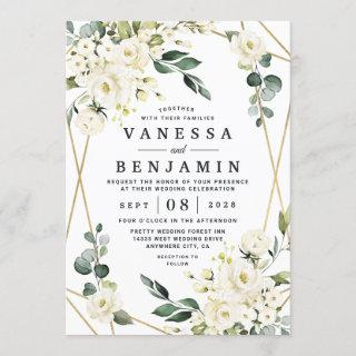 Elegant Gold Geometric Floral Greenery Wedding Invitations