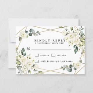 Elegant Gold Geometric Floral Greenery Wedding RSVP Card