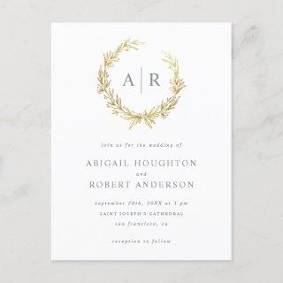 Elegant Gold Hand-drawn Wreath Initials Wedding Invitation Postcard