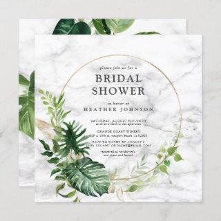 Elegant Gold Marble Tropical Wreath Square Shower Invitation