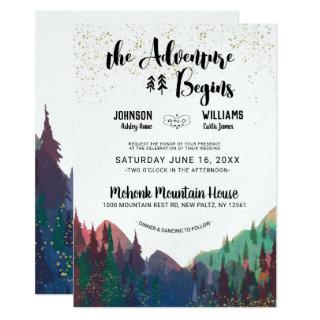 Elegant Gold Mountain Wedding Invitations