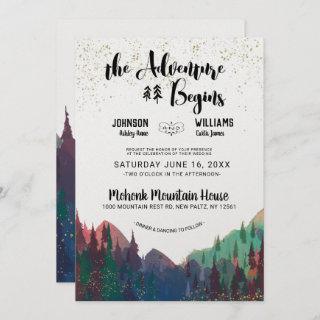 Elegant Gold Mountain Wedding Invitation