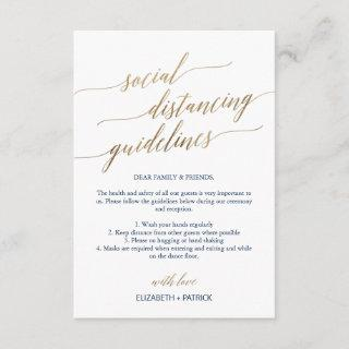 Elegant Gold & Navy Social Distancing Wedding Enclosure Card