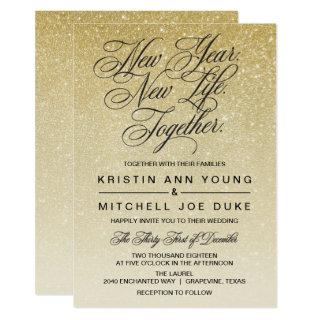 Elegant Gold New Years Eve Wedding Invitations
