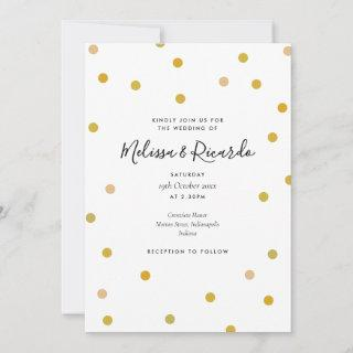 Elegant Gold Polka Dots Wedding Invitations