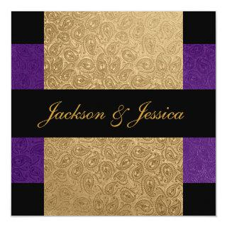 Elegant Gold Purple Paisley Engagement Party Invitation