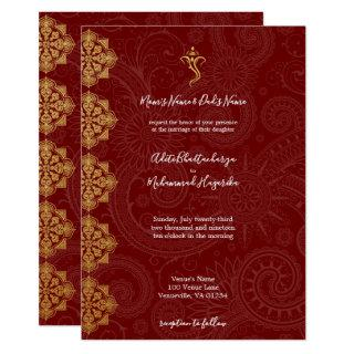 Elegant Gold & Red Ganesha Indian Wedding Invitations
