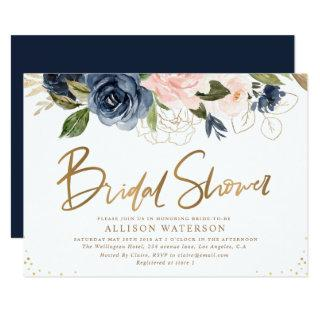 Elegant gold script blush & navy bridal shower Invitations