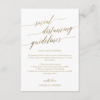 Elegant Gold Social Distancing Guidelines Wedding Enclosure Card