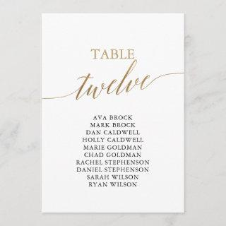 Elegant Gold Table Number 12 Seating Chart