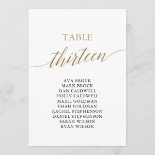 Elegant Gold Table Number 13 Seating Chart