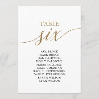 Elegant Gold Table Number 6 Seating Chart