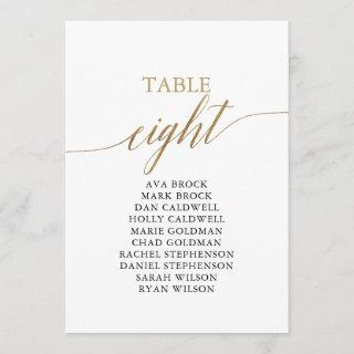 Elegant Gold Table Number 8 Seating Chart