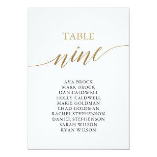 Elegant Gold Table Number 9 Seating Chart
